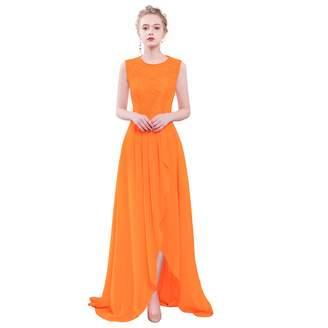 MenaliaDress Womens Chiffon Lace Hi-Lo Sleeveless Bridesmaid Dress M085LF US