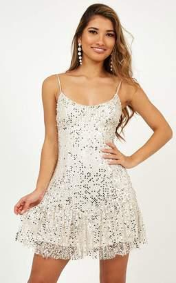 Showpo Like I Love You Dress In champagne sequin