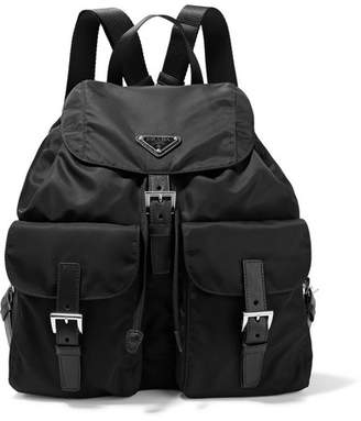 Prada Vela Large Leather-trimmed Shell Backpack - Black