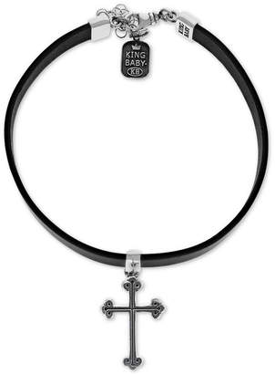 "King Baby Studio Women's Cross Leather Choker Necklace in Sterling Silver, 12+ 2"" extender"