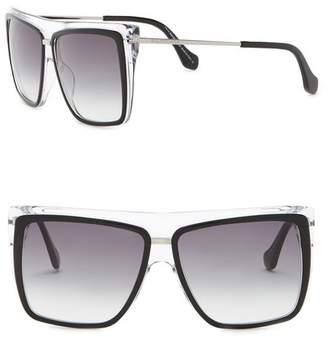 Balenciaga 56mm Square Flat Top Sunglasses