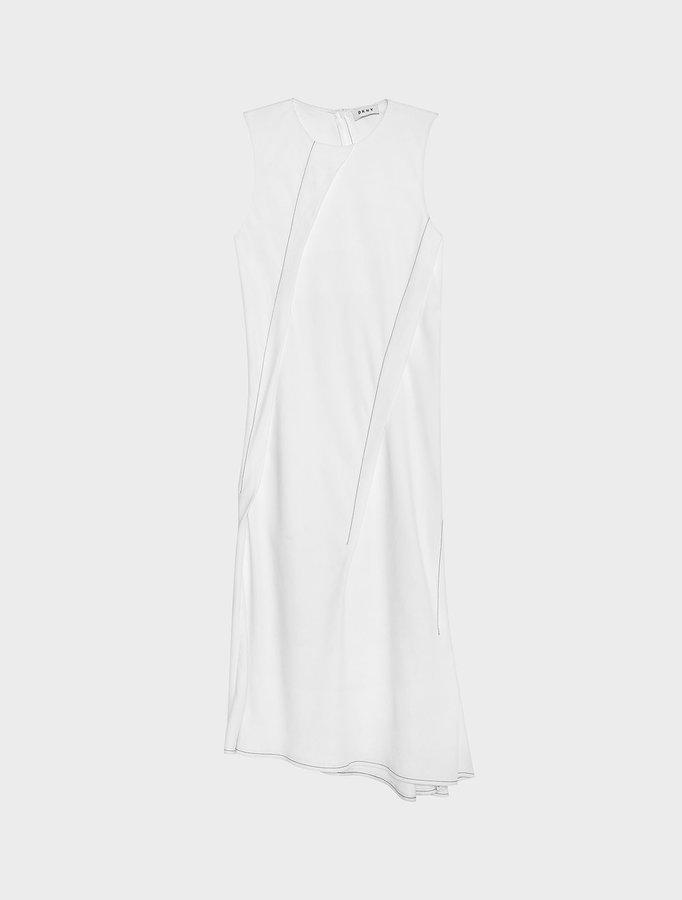 DKNYAsymmetric Midi Dress With Contrast Stitching