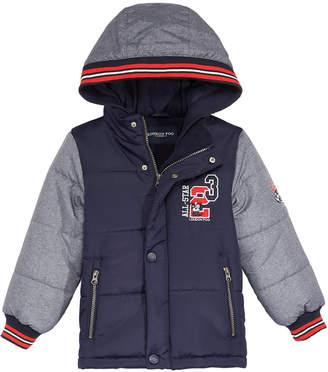London Fog Toddler Boys Hooded Varsity Puffer Jacket