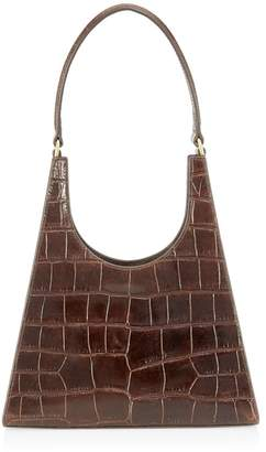 STAUD Rey Crocodile-Embossed Leather Top Handle Bag