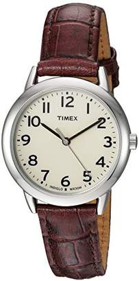 961fa9077 Timex Women's TW2R30300 Easy Reader Croco Pattern Brown Leather Strap Watch