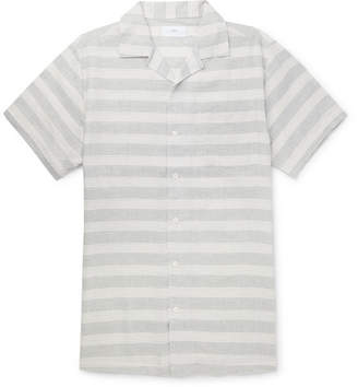 Onia Camp-Collar Striped Linen And Cotton-Blend Shirt