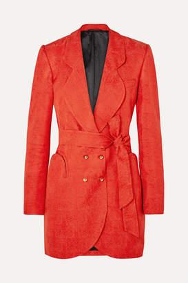 Blazé Milano - Sunshine Belted Satin-jacquard Mini Dress - Orange