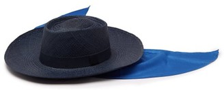 Lafayette House Of Reed Sink 1 Satin Trimmed Straw Panama Hat - Womens - Blue