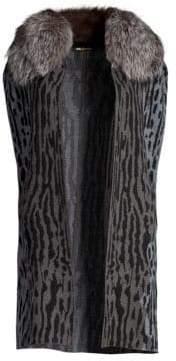 Kobi Halperin Colene Fox Fur Collar Cape Vest
