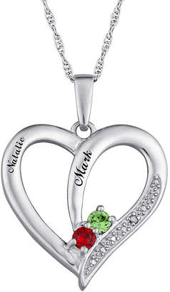 FINE JEWELRY Personalized Diamond-Accent Couple's Name Birthstone Heart Pendant Necklace