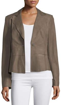 Elie Tahari Sally Topstitched Leather Jacket