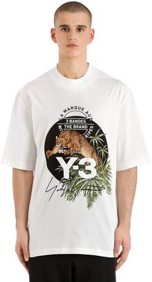 Y-3 Loose Fit Leopard Printed Jersey T-Shirt