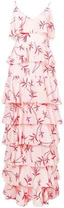 Borgo de Nor olive branch print ruffled tier dress