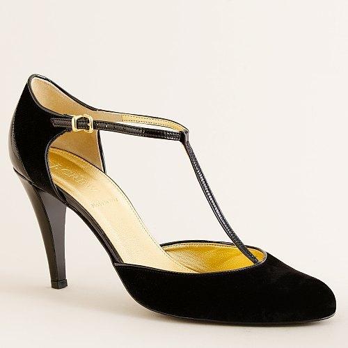 Bettina velvet patent T-strap heels