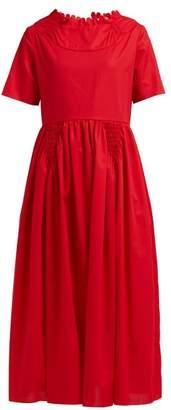 Horror Vacui Fiorina Cotton Midi Dress - Womens - Red