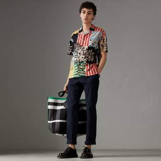 Burberry Short-sleeve Floral Stripe Print Cotton Shirt