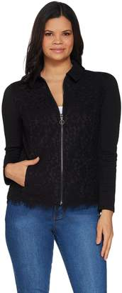Isaac Mizrahi Live! Floral Lace & Knit Jacquard Jacket