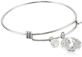 Disney Stainless Steel Catch Bangle with Plated Crystal Cinderella Slipper