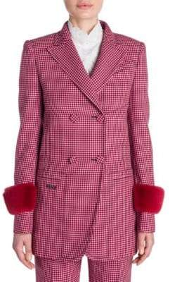 Fendi Long-Sleeve Wool Check Mink Cuff Jacket