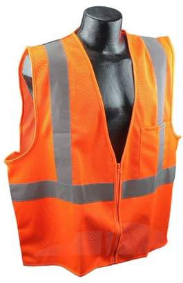 US2OM19 Class 2 Mesh Safety Vest - Orange - Large, 100% Mesh Polyester Material By Full Source