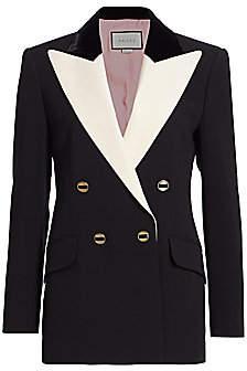 Gucci Women's Peak-Lapel Wool & Silk Double-Breasted Jacket