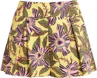 REDVALENTINO Floral-print cotton-blend poplin shorts $218 thestylecure.com