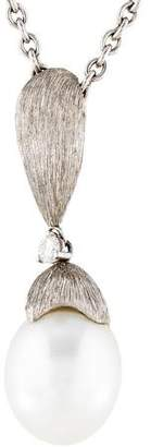 Henry Dunay Platinum Pearl & Diamond Pendant Necklace