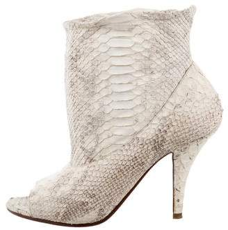 Michel Perry Embossed Peep-Toe Booties