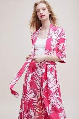Just Female Tropical-Print Kimono Jacket