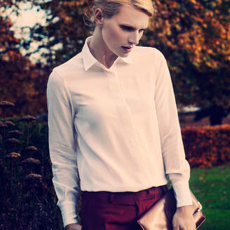 The Silk Boutique Miranda Classic Silk Shirt In White Or Navy