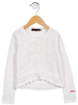 Catimini Girls' Crochet High-Low Cardigan