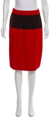 St. John Knee-Length Rib Knit Skirt Red Knee-Length Rib Knit Skirt