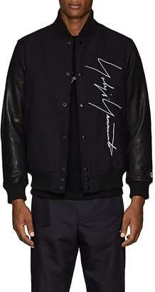 Yohji Yamamoto Men's Logo-Embroidered Leather & Wool Bomber Jacket