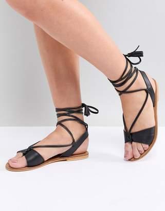 Asos DESIGN FLORRIE Leather Tie Leg Sandals