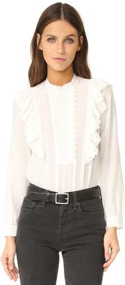 Rebecca Taylor Long Sleeve Silk Ruffle Top $325 thestylecure.com