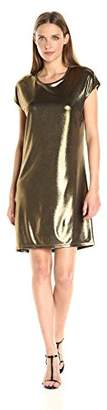 Halston Women's Short Sleeve Foil Jersey Dress with Drape Back