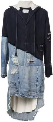 Greg Lauren denim-panelled hooded jacket