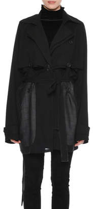 Unravel Deconstructed Double-Breasted Wool Trench Coat