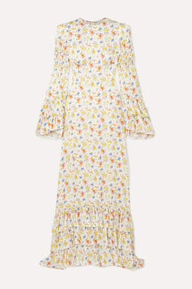 The Vampire's Wife Tiered Floral-print Crepe Maxi Dress - Ivory