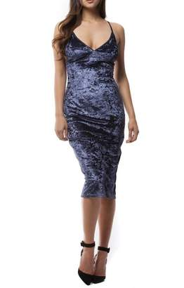 Paper Crane Strappy Velvet Dress