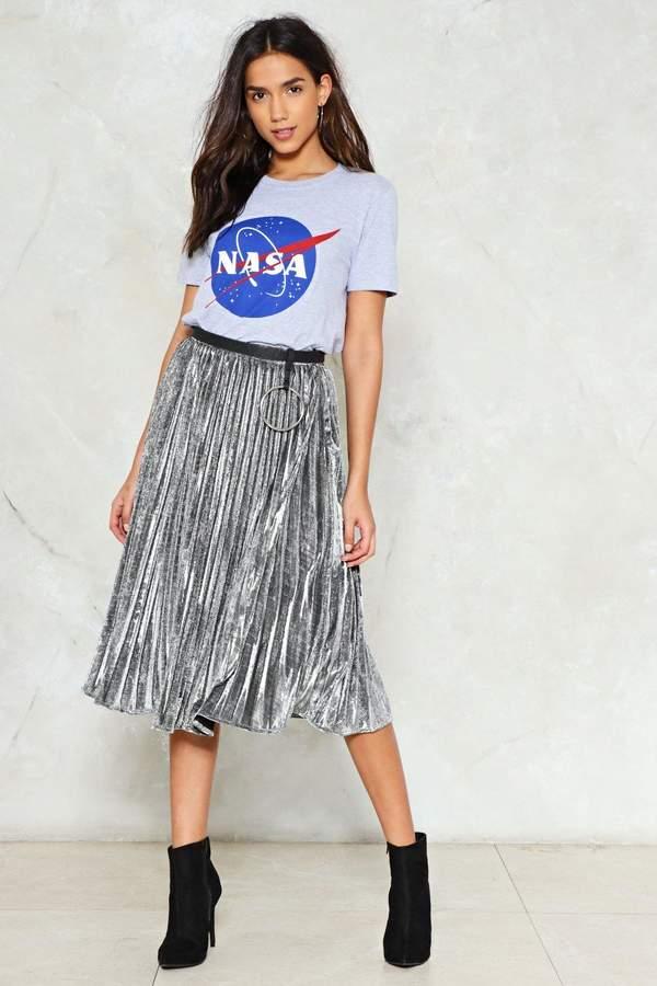 nastygal Come-Pleat Control Metallic Skirt