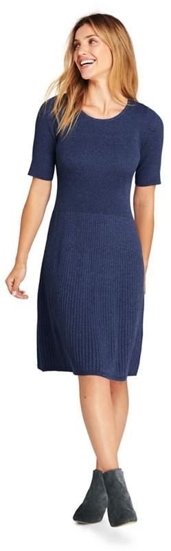 Blue Petite Supima Cotton Rib Sweater Dress