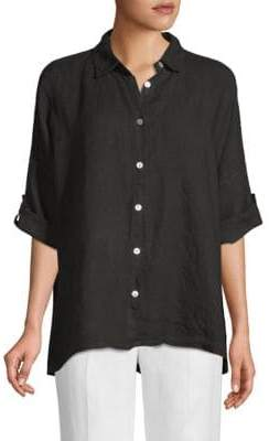 Saks Fifth Avenue Linen Three-Quarter Sleeve Button-Down