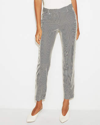Express Petite Mid Rise Striped Knit Columnist Ankle Pant