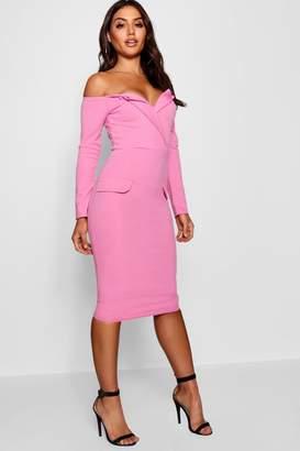 boohoo Off the Shoulder Blazer Midi Dress