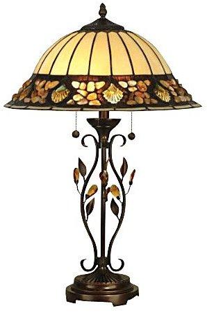 Dale Tiffany TT90172 Pebblestone Table Lamp, Antique Golden Sand & Art Glass Shade