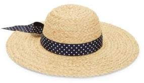 Polka Dot Band Raffia Straw Sun Hat