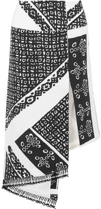 Lumieres Asymmetric Tasseled Printed Silk Crepe De Chine Skirt - Black