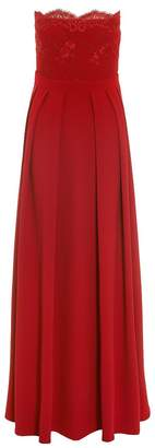 Quiz Red Crepe Embelished Bandeau Maxi Dress