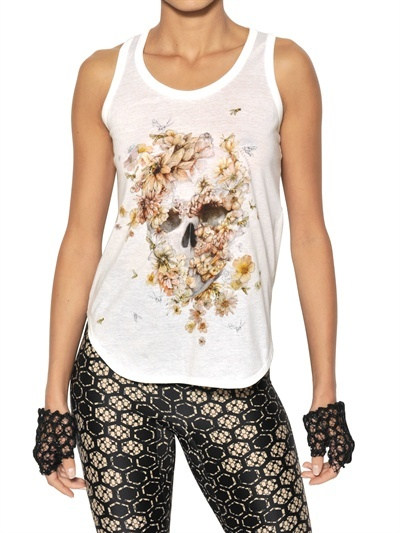 Alexander McQueen Floral Skull Printed Jersey Tank Top